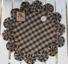 Tea Stain Homespun Crow Hang Tag Rusty Bell Cotton Fabric YoYo Candle Mat Doily