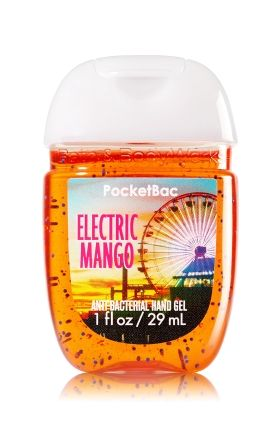 Electric Mango - PocketBac Sanitizing Hand Gel - Bath & Body Works - Now with more happy! NEW PocketBac is perfectly shaped for pockets & purses, making it easy to fight germs on-the-go! Plus, our all-new skin softening formula contains powerful germ-killers that keep your hands clean & soft.