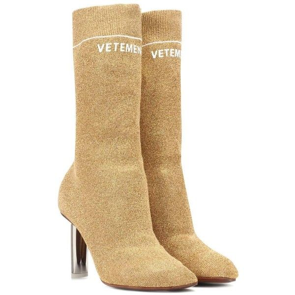 Vetements Lighter-Heel Sock Ankle Boots ($1,600) ❤ liked on Polyvore featuring shoes, boots, ankle booties, gold, vetements boots, gold ankle booties, sock ankle boots, gold booties and sock bootie