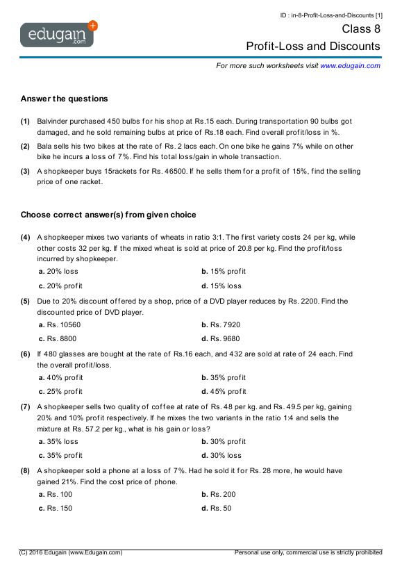 Class 8 Profit-Loss and Discounts worksheets