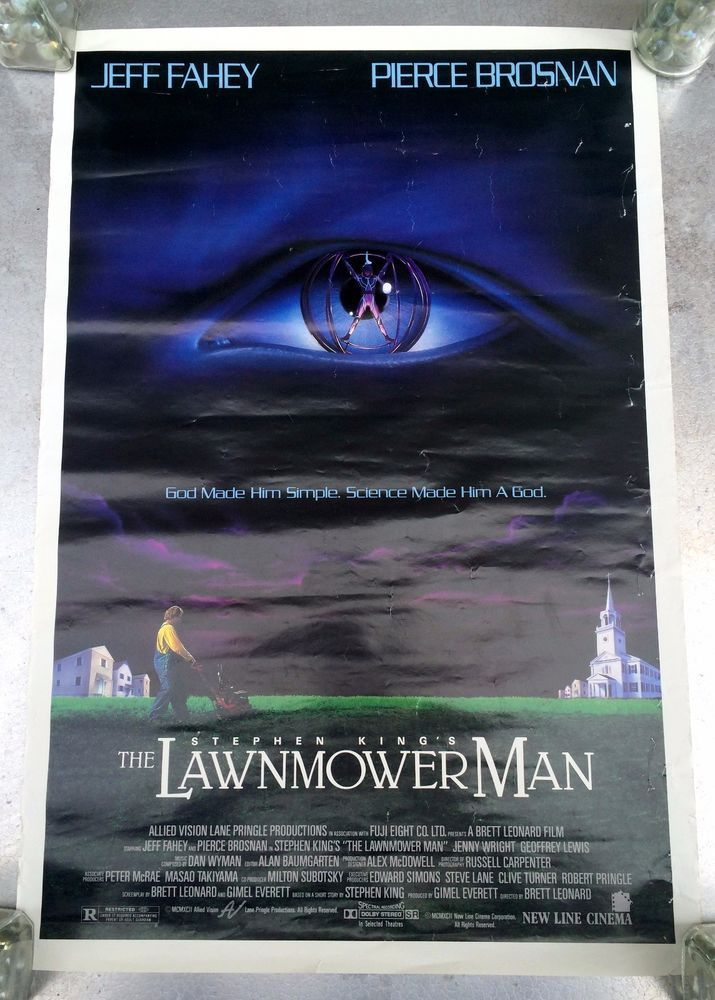 1992 The Lawnmower Man #StephenKing #MoviePoster #JeffFahey #PierceBrosnan 20 x 13.5