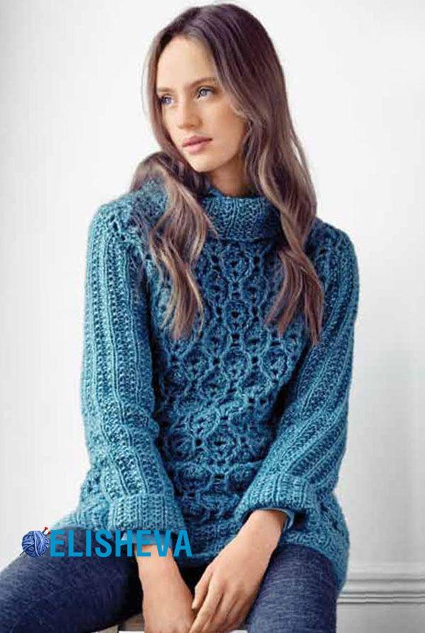 Женский свитер с шикарным узором вязаный спицами и крючком