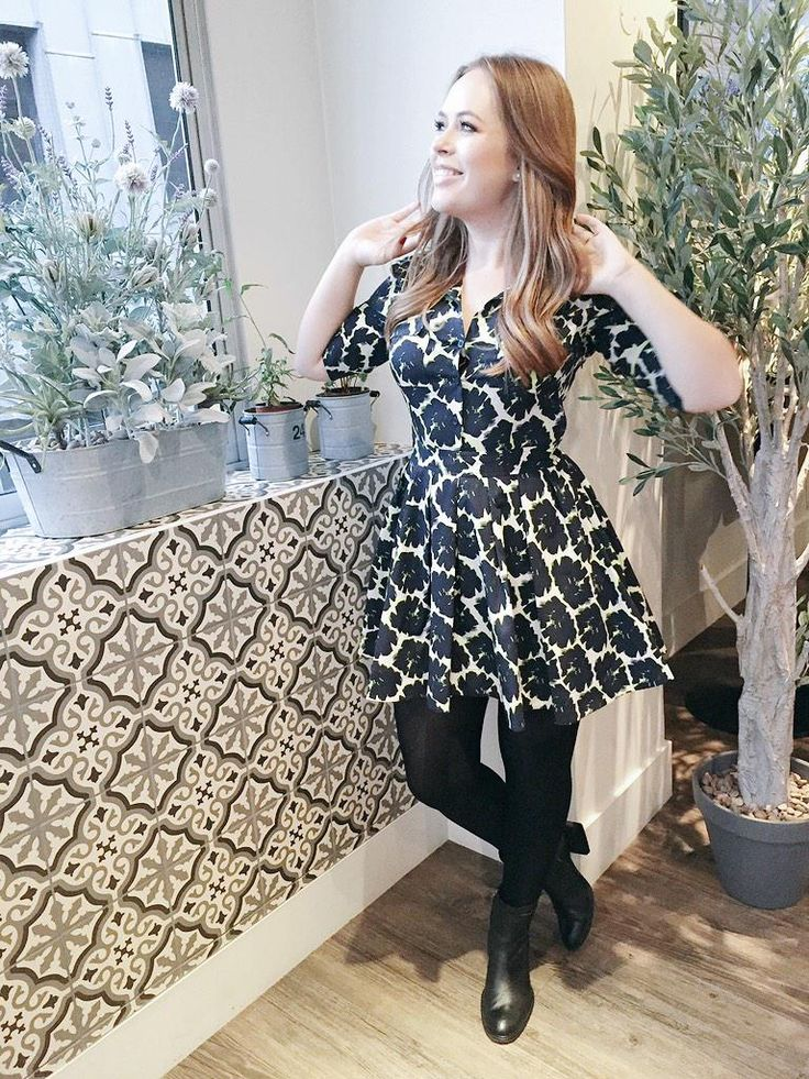 Tanya Burr - love the dress and tights look