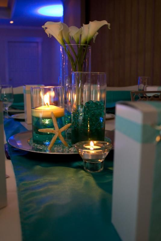 I think that would be pretty with incorporating the pink and silver...  Formal Beach Themed Wedding : wedding aqua beach black blue brown centerpieces chargers diy gold green inspiration ivory navy orange pink purple reception red silver starfish teal white yellow IMG 8245