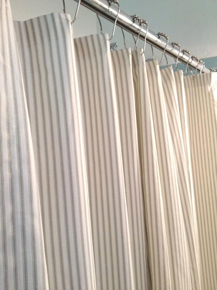 72 Wx72 L Ticking Stripe Shower Curtain With 12 Chrome Grommets