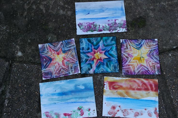 Encaustic art designs by Karen Tait.  Hot wax painting.