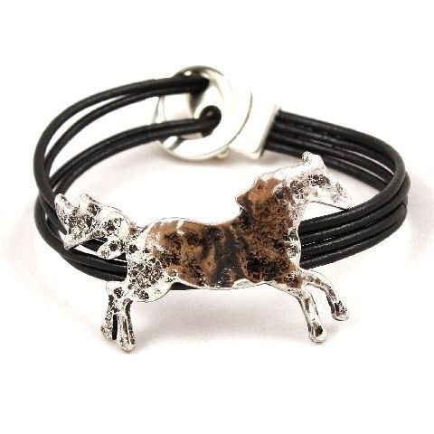 4 Strand leather Running Horse Bracelet - Silver