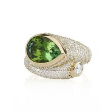 Large Whirl Green Tourmaline and Diamond Ring