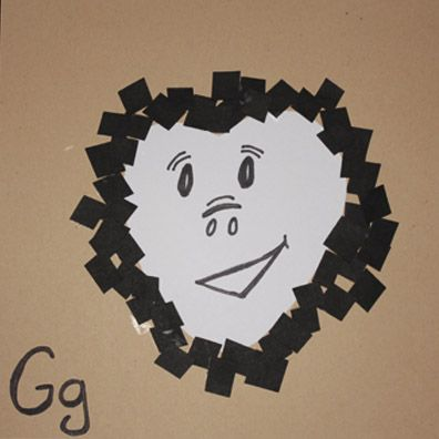 Gorilla Craft: Using a GRAY sheet of paper trace out a heart shape. Paste it to a large sized paper. Cut black paper into little squares. Glue them around the heart forming the head of a gorilla. Draw a face on your gorilla heart shape with a black marker. Hang it up and enjoy your new gorilla.