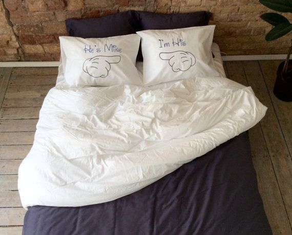 Hes Mine Im His pillowcases, Gay Couple Pillowcases, Mr and Mr gifts Disney couple gay wedding gift, gay couple gay gay gift gay valentine (Set of 2)   Read the About page and you will understand why wedding theme is so important for me! :) This couple pillow cases is excellent gift for the gay wedding. This Mr and Mrs couple is very unique and beautiful for sure will touch your heart! This bedding will decorate every bedroom and make it sweet, romantic and creative. Great idea to say I Love…