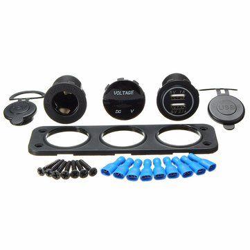 5V 3.1A LED Dual USB Charger Voltmeter 12V Socket 3 Hole Panel Marine Car Boat Sale - Banggood.com