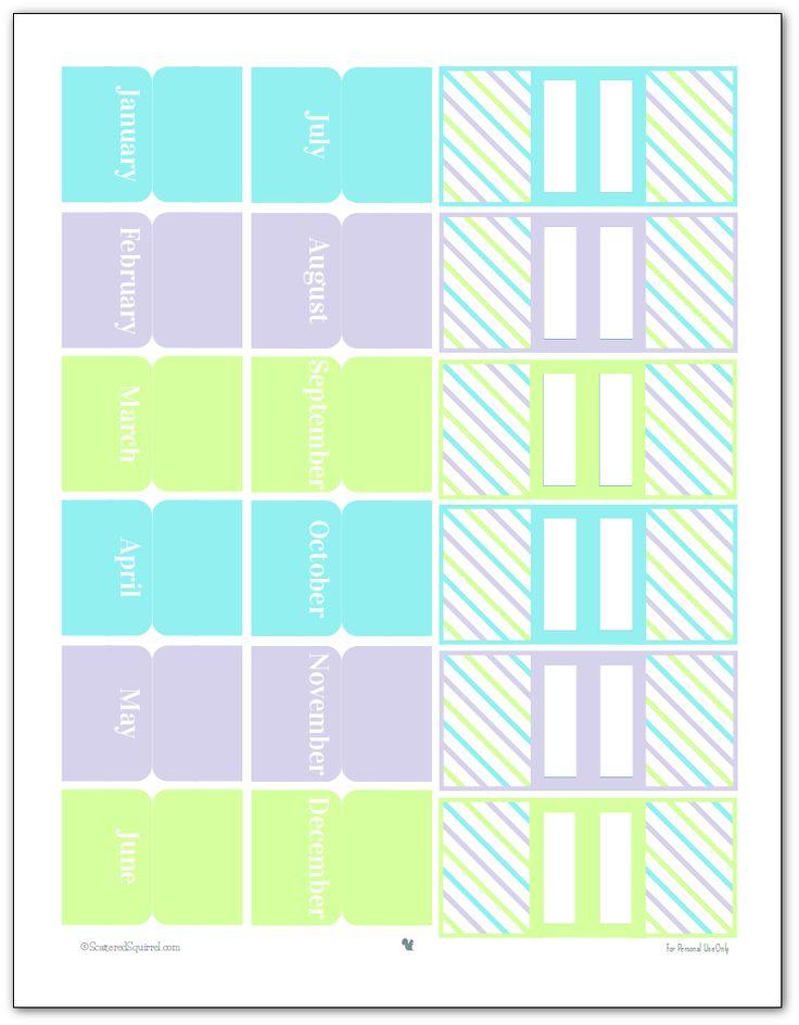 Acessórios planejador imprimíveis em 2015 abas cores-mensais e marcadores de página