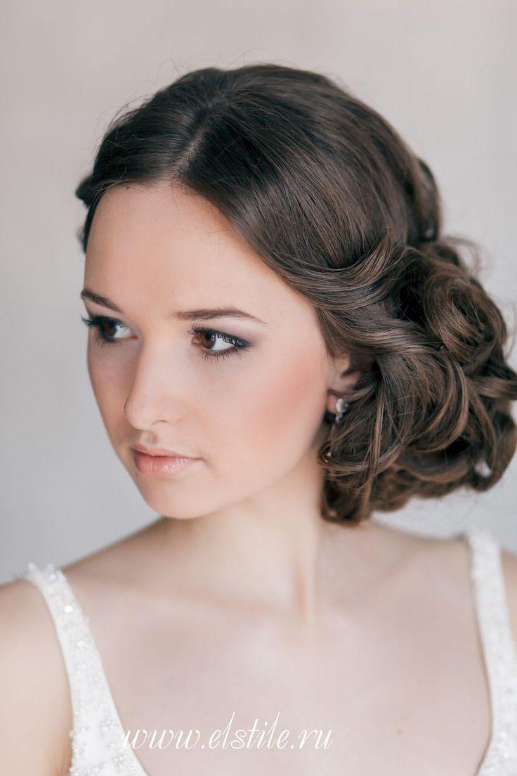 Elegant Curled Side-Updo - Feminine Bridal Hair