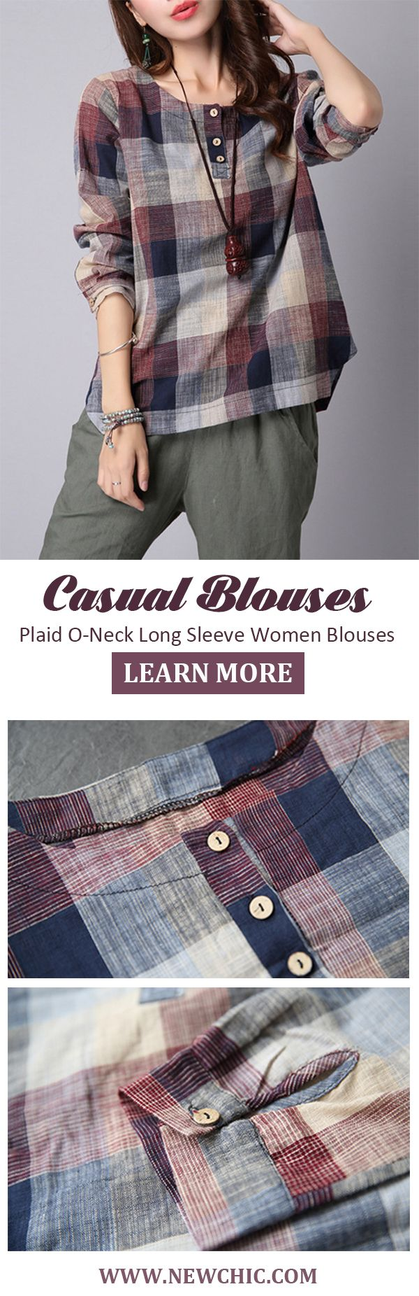 [Newchic Online Shopping] 48%OFF Women's Casual Plaid Blouses with Long Sleeve and O-Neck