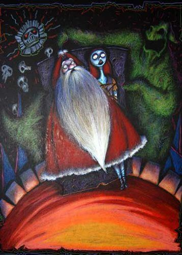 Original Concept Drawing featuring Oogie Boogie, Santa, and Sally from Tim Burton's The Nightmare Before Christmas: Collectibles...