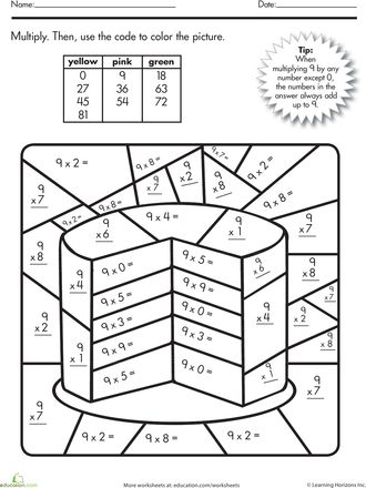 Worksheets: Multiplication Color by Number: Cake  Fun, interactive activity to do with multiplication by 9s. Students just learned the 9s hand trick, so this could be great practice as a fun, take home activity.