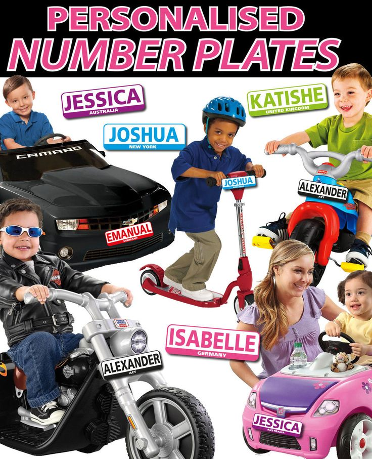 Personalised Kids Licence Number Plates Bike, Toy Car Sign
