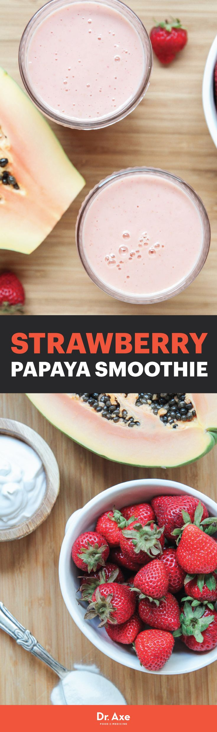 Cool off with a Strawberry Papaya Smoothie - It's great for your gut health!