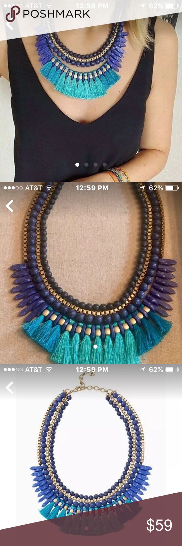 """Tresse Statement Necklace-S&D-Mint Condition This necklace is STUNNING !! I have one of my own !!  Hand strung  lapis colored beads and vintage gold chain brilliantly come together with bright turquoise  and cerulean tassels. Tassel strand detaches to wear this Statement together or separately. Versatile 3 in 1. Normally $119, on sale until 12/15. Feel free to request more pictures or information.  * lobster clasp and spring ring  closure  * 16"""" length with 3"""" extender  *  vintage gold…"""