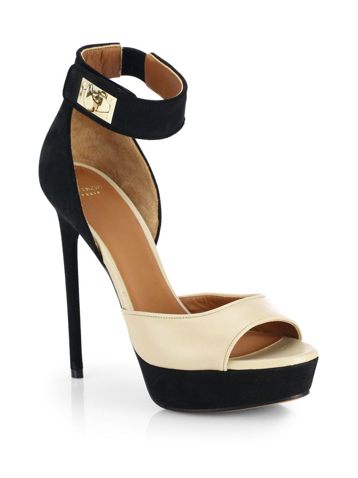 Givenchy Bi-color Leather Suede Platform Sandals in Black and Cream