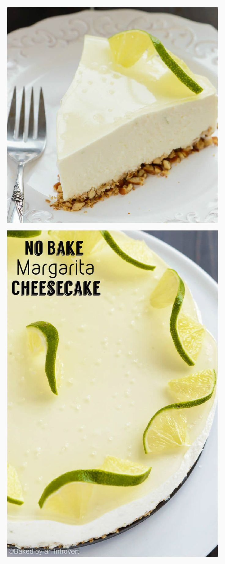 No bake margarita cheesecake made with a pretzel crust, a light creamy filling, and topped with a thin layer of margarita gelatin. This cheesecake tastes just like a classic margarita and it's so easy to whip up!
