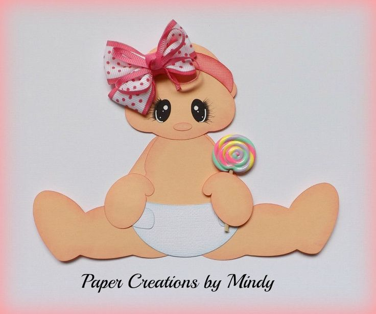 ELITE4U lollipop girl baby premade paper piecing scrapbooking page border ~ Paper Creations by Mindy