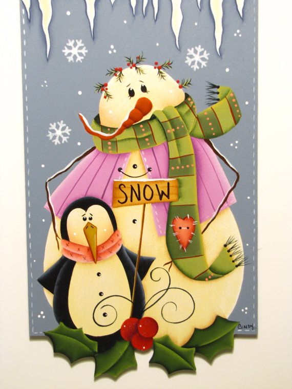 Snowman and Penguin Banner Winter Friends by ToleTreasures on Etsy