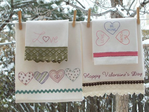 Valentine Tea Towels Embroidery Pattern by PrettyPMamaB on Etsy, $9.00
