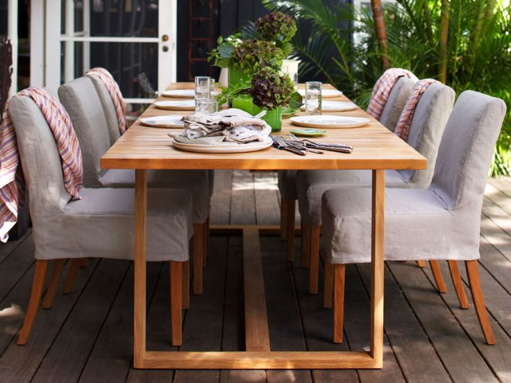 Eco Outdoor Bremer Extending Dining Table With Amos Dining Chairs In Outdoor  Linen. Outdoor Furniture