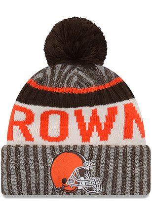 size 40 50de0 f3898 New Era Cleveland Browns Brown 2017 Official Sport Knit Hat