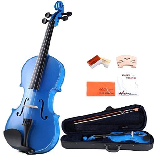 Full Size Violin Acoustic ADM 4/4 Violin Handcrafted Solid Wood Starter Kit BLUE #ADM