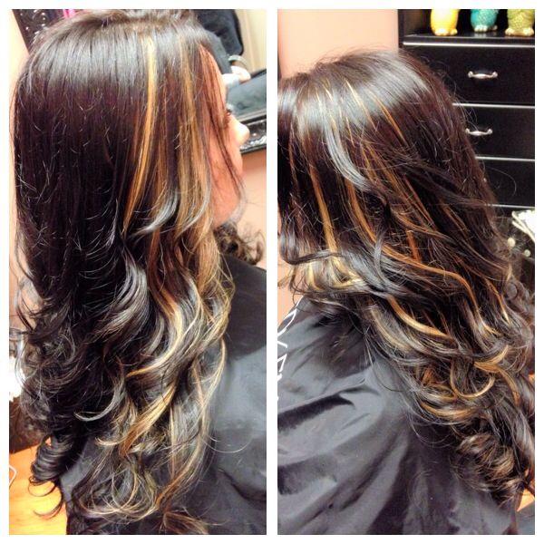 dark chocolate brown with peekaboo blonde highlights peek