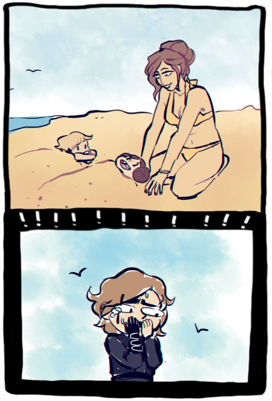 Anakin watches in horror as Padme buries little Luke & Leia in sand.  Star Wars