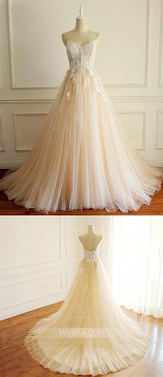 248bdf5ca1 Spaghetti Strap A-Line Lace Bridal Gown Sleeveless Cheap Wedding Dresses # wedding #cheap #dresses #gown #bridal #spaghetti