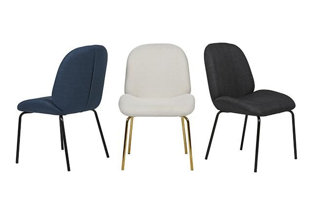 Bella Dining Chair in Airforce Blue, Natural Fabric/Brass, Soot Fabric/Black #globewest #furniture #dining #chairs #style #contemporary