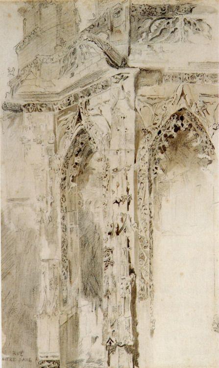 drawingdetail:  John Ruskin, Caen, St Sauveur, 1848.Pencil and wash, 44.8 x 27.3cmSource: Robert Hewison, Ruskin, Turner and the Pre-Raphaelites, 2000.