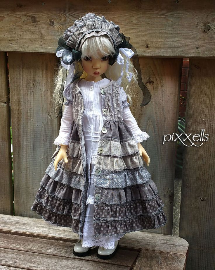 Shades of Grey & White 2 Dress Set for MSD Kaye Wiggs Dollstown 13 by pixxells