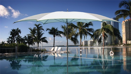 Wow what a statement! Large scale shade for an infinity pool.