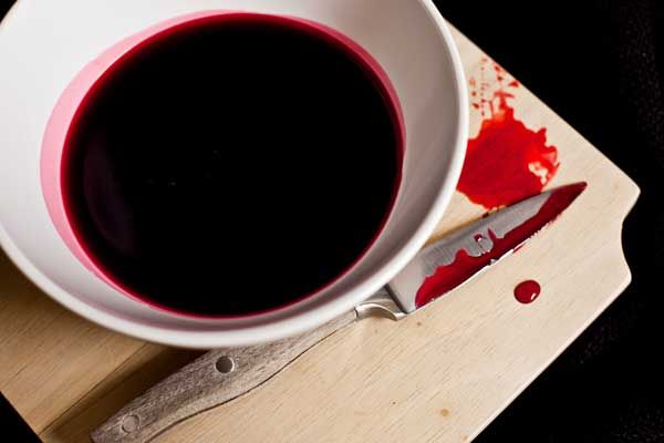 Edible Blood for Halloween Party Foods:  1 cup light corn syrup, Red food coloring, Blue food coloring, 1/4 cup water  Directions: Put red food coloring in corn syrup and stir until resembles blood. Amount varies. Add a drop of blue at a time to give the blood a bit of an authentic tint. Stir in water to thin the mixture out. Add more water if you prefer it runny.