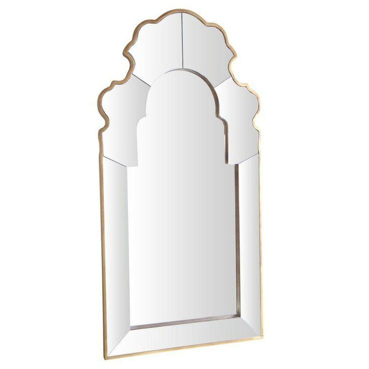 Espejo estilo arabe dorado de madera 99.5x50x2.5 cm.| espejos dorados