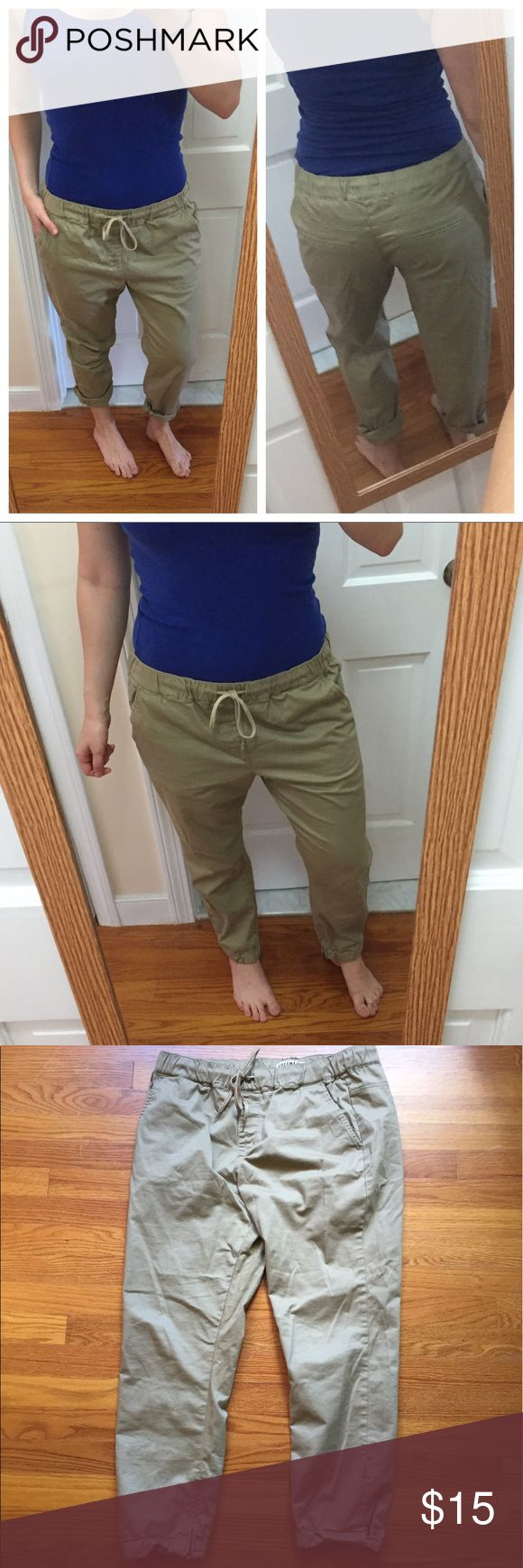 Khaki Joggers Excellent condition, only worn twice! A little too loose-fitting for my liking. Size L, best for sizes 8-12 depending on how you'd like them to fit. I'm a 6 and they are still wearable but loose. These are so versatile! Wear them rolled or unrolled at the ankles, tied high waisted or low waisted. Ankles have zippers and cuff buttons. Happy to answer any questions! Bullhead Pants Track Pants & Joggers