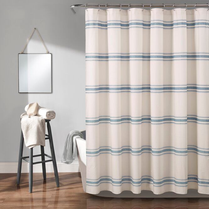 Matterson Stripe Cotton Single Shower Curtain In 2020 Striped Shower Curtains Cotton Shower Curtain Stylish Shower Curtain