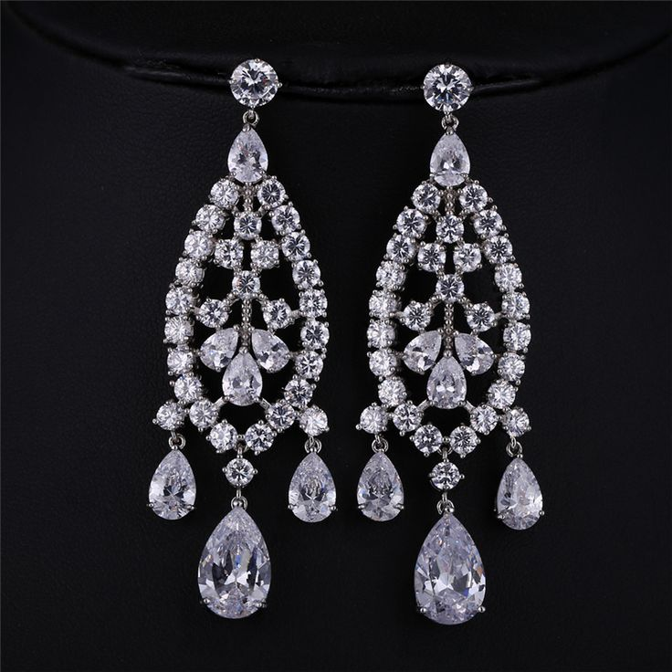J Store Charming Trendy Personality Luxury Cubic Zircon Bridal Earrings for Women Wedding Party Chandelier Jewelry brincos #Affiliate