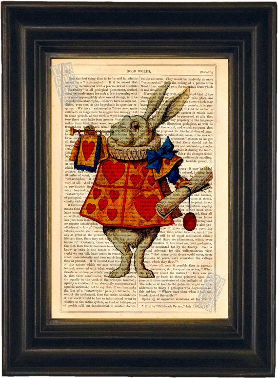 Alice White Rabbit  Print on upcycled vintage by ForgottenPages, $8.00