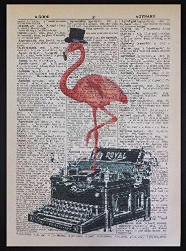 Nice Pink Flamingo Vintage Schreibmaschine W rterbuch drucken Seite Art Wand Bild Hipster