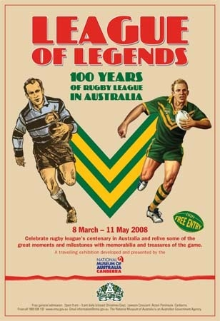 Australian Centenary of Rugby League Poster 'League of 'Legends' $27.95