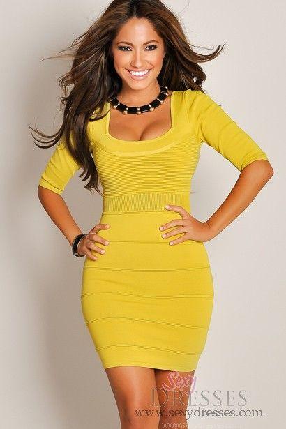 Cute Designer Solid Yellow Half-Sleeve Textured Bandage Dress  $59.95