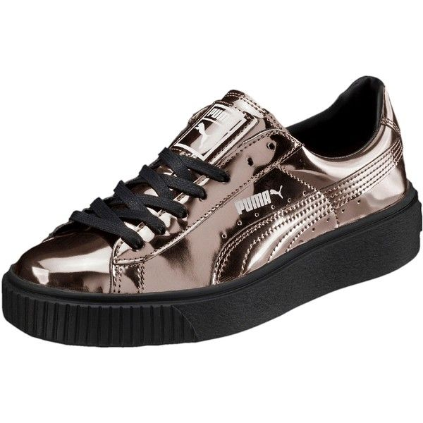 Puma Basket Platform Metallic Women's Sneakers ($100) ❤ liked on Polyvore featuring shoes, sneakers, puma shoes, puma trainers, high platform sneakers, sports shoes and puma sneakers