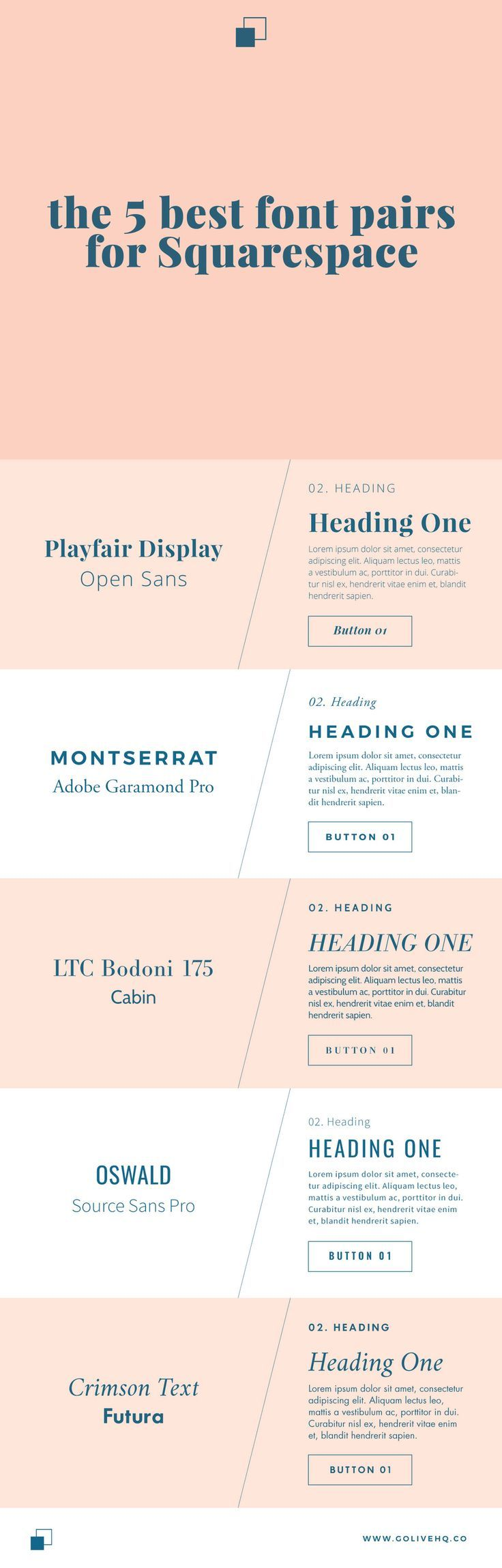 5 best font pairs for Squarespace by golivehq.co