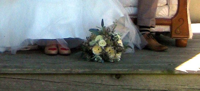 ... the bride's shoes ... the groom's socks